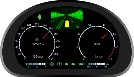Fig. 1. Automotive virtual instrument cluster - first version.